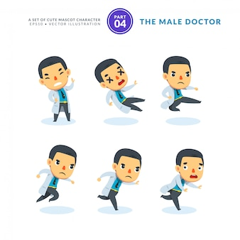 Vector set cartoonafbeeldingen van mannelijke arts. vierde set. geïsoleerd