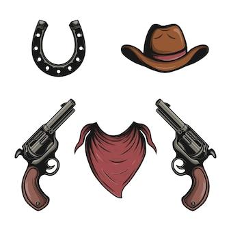 Vector set cowboy elementen en attributen