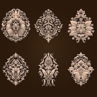 Vector set damast sierelementen. elegante bloemen abstracte elementen voor ontwerp. perfect voor uitnodigingen, kaarten, enz.