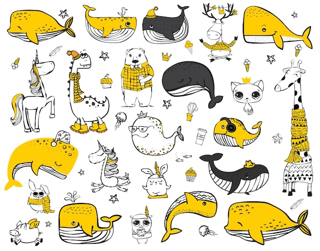 Vector set doodle hipster dieren perfect voor wenskaarten ontwerp tshirt prints en kinder posters