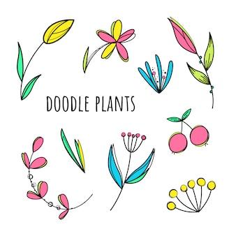 Vector set doodle planten