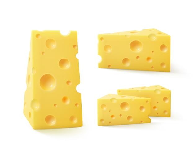 Vector set driehoekige stukjes zwitserse kaas op wit