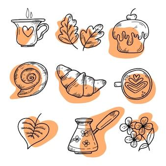 Vector set elementen met een croissant een broodje kopje koffie een turk cupcake in een grafische stijl