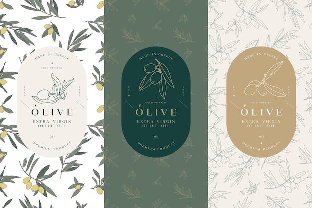 Vector set etiketten met olijftak - eenvoudige lineaire stijl. de samenstelling van emblemen met olijven en typografie. naadloze patroon.