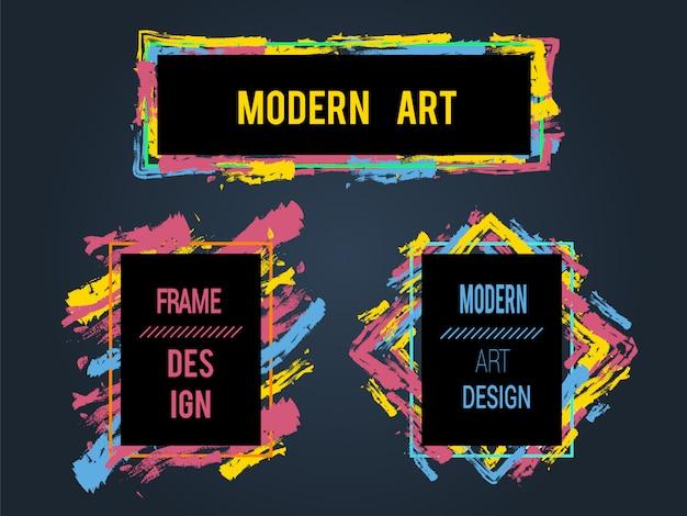 Vector set frames en banners voor tekst, moderne kunst graphics, hipster stijl