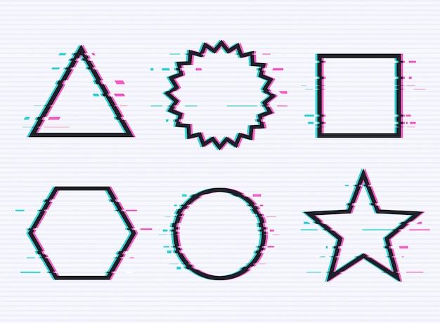 Vector set frames met glitch effect.