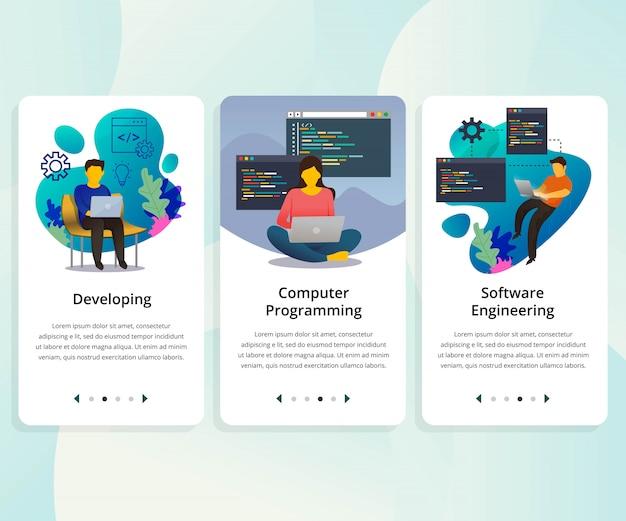 Vector set gebruikersinterfacekit voor programmeren