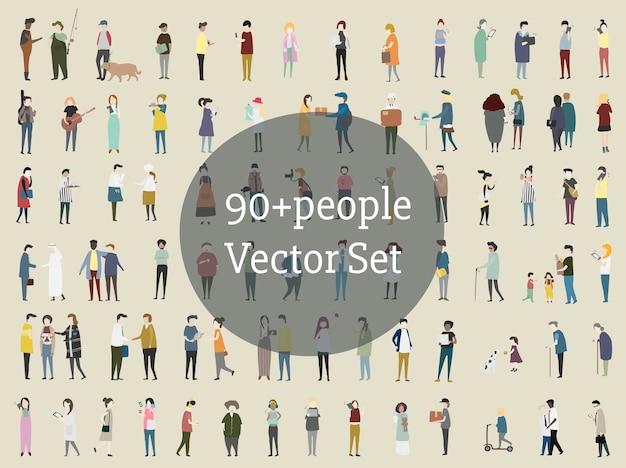 Vector set geïllustreerde mensen