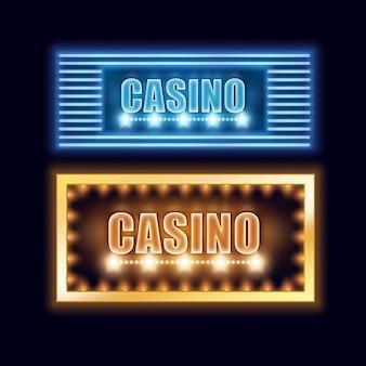 Vector set gele, blauw verlichte casino uithangborden voor poster, flyer, billboard, websites en gokclub geïsoleerd op zwarte achtergrond