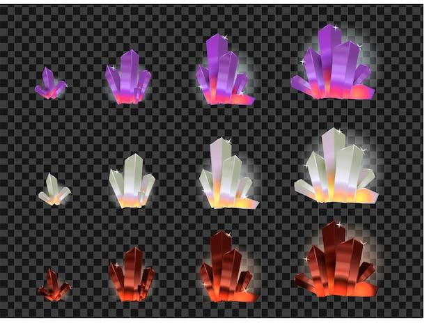 Vector set glazen kristallen