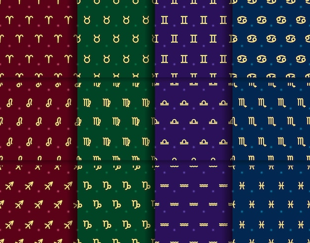 Vector set gouden dierenriem tekens naadloze patronen herhaalde horoscoop elementen collectie