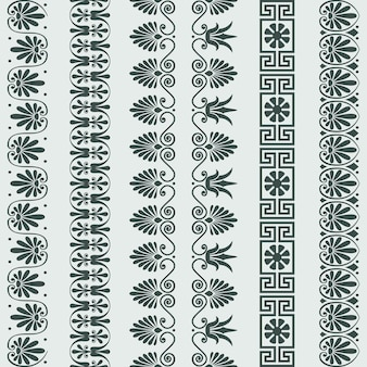 Vector set grieks ornament meander grens