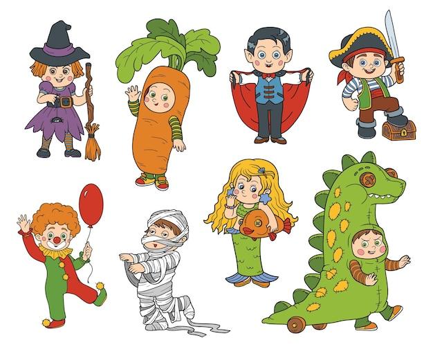 Vector set halloween-kinderen karakters kleurrijke stickers met kinderen in carnavalskostuums