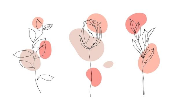 Vector set hand getrokken, enkele ononderbroken lijn bloemen - rozen, bladeren schets. kunst bloemen elementen. gebruik voor t-shirt prints, logo's, cosmetica.