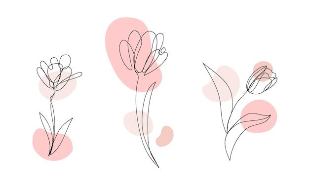 Vector set hand getrokken, enkele ononderbroken lijn bloemen - tulp, bladeren. kunst bloemen elementen. gebruik voor t-shirtafdrukken, logo's, cosmetica