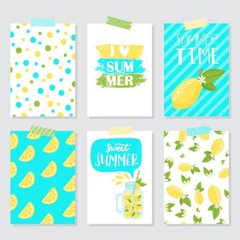 Vector set heldere zomerkaarten. mooie zomerse posters met citroen, palmbladeren en handgeschreven tekst. journaal kaarten.