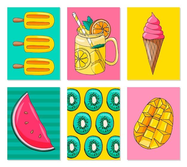 Vector set heldere zomerkaarten. mooie zomerse posters met mango, watermeloen, citroen, ijs, kiwi, limonade.