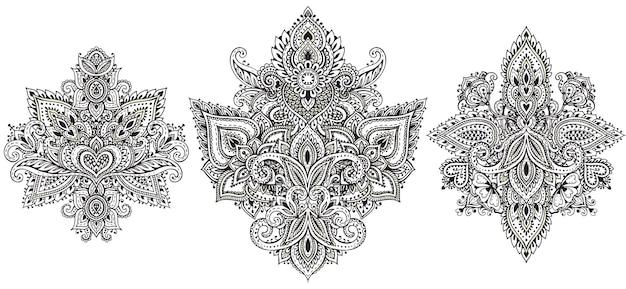 Vector set henna bloemen elementen op basis van traditionele aziatische ornamenten. paisley mehndi tattoo doodles-collectie