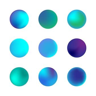 Vector set holografische gradiënt bol. blauwe neon cirkel verlopen. kleurrijke ronde knoppen geïsoleerd op een witte achtergrond.