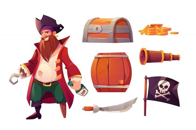 Vector set iconen van piraat en scheepsuitrusting