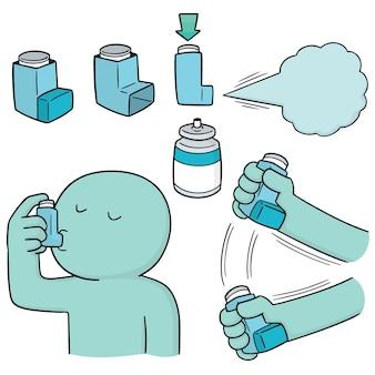 Vector set inhalatie medicijnen