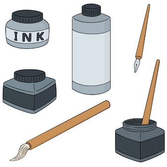 Vector set inkt, penseel en dip pen