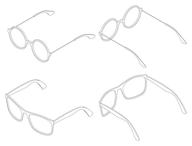 Vector set isometrische bril oculairs ronde en vierkante lijntekeningen