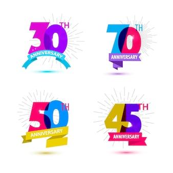 Vector set jubileumnummers ontwerpen 30 70 50 45 pictogrammen composities met linten