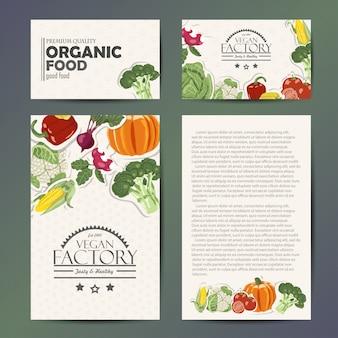 Vector set kaarten met groenten