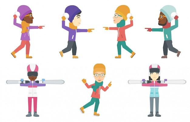 Vector set karakters van de wintersport.
