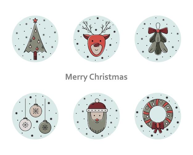 Vector set kerst illustraties. nieuwjaar kleur overzicht pictogrammen.