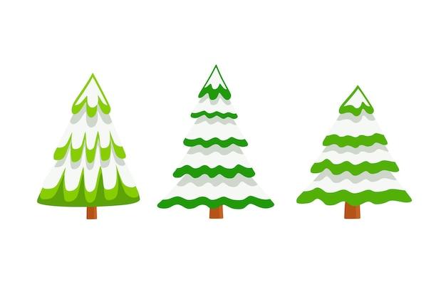 Vector set kerstbomen in de sneeuw in cartoon-stijl