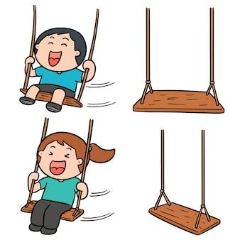 Vector set kid swing