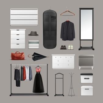 Vector set kledingkast spullen hangers, dozen, spiegel, poef, rekken en stands, verschillende kleding, tas, schoenen en paraplu vooraanzicht geïsoleerd op achtergrond