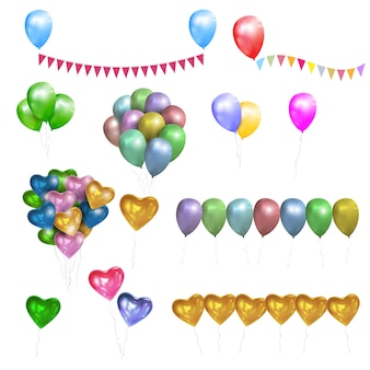 Vector set kleur glanzende ballonnen, harten en bunting vlaggen