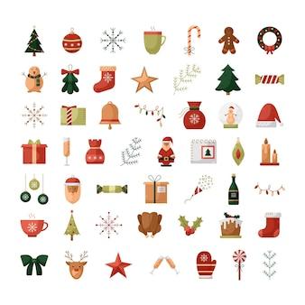 Vector set kleur platte kerst iconen. nieuwjaar illustraties