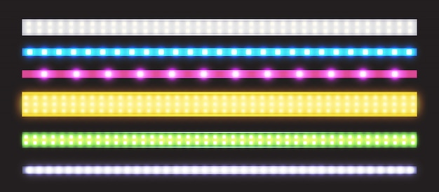 Vector set led strips met neon glow effect