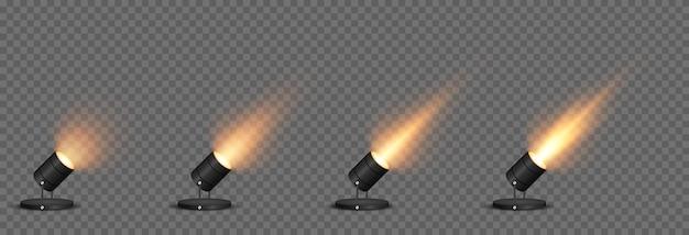 Vector set licht lichtbron studio verlichting muren png geel gouden licht spotverlichting spotlight png stralen lichteffect