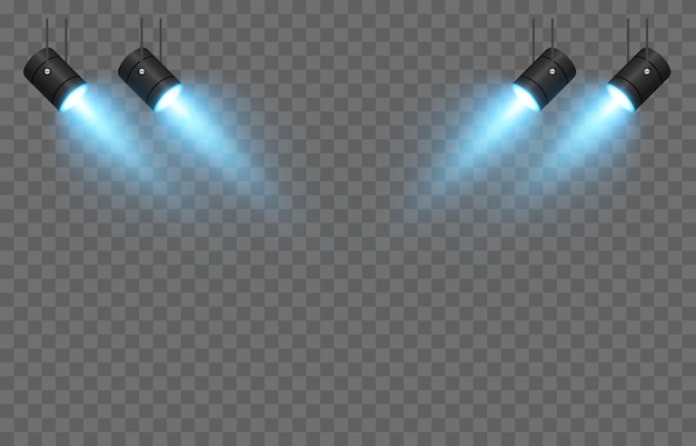 Vector set licht lichtbron studioverlichting muren png blauw licht spotverlichting Premium Vector