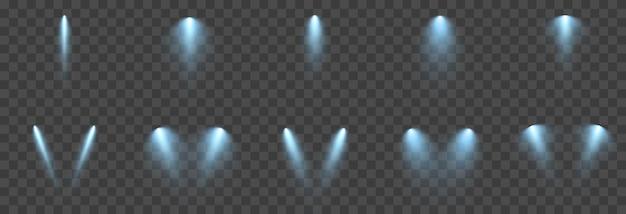 Vector set licht lichtbron studioverlichting muren png blauw licht spotverlichting
