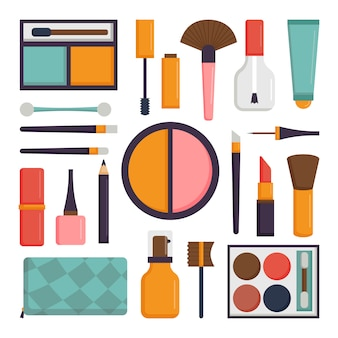 Vector set make-up borstels en schoonheid cosmetische pictogram.