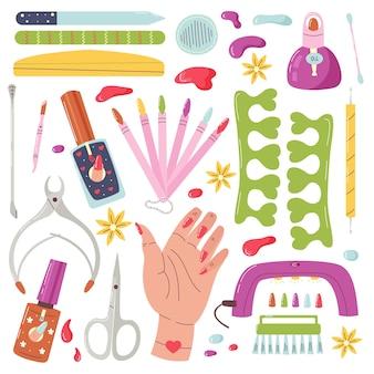 Vector set manicure tools. thuis nagelverzorging. artikelen voor verzorgde handnagels. vector platte cartoonillustratie