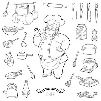 Vector set met chef-kok en objecten om te koken. zwart-wit items