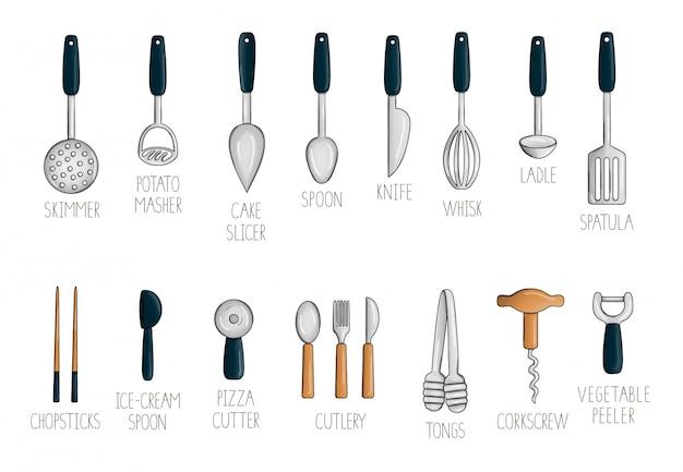 Vector set met gekleurd keukengereedschap.