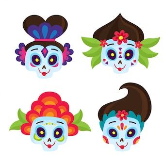 Vector set met kleurrijke schedels voor de dag van de doden. halloween elementen.