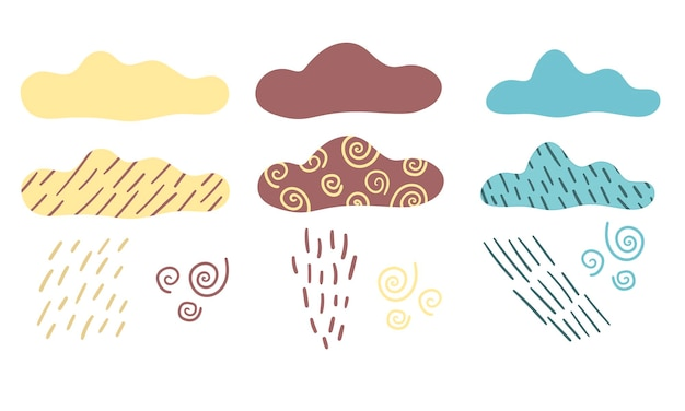 Vector set met regenwolken en wolken regen stortbui in de scandinavische stijl