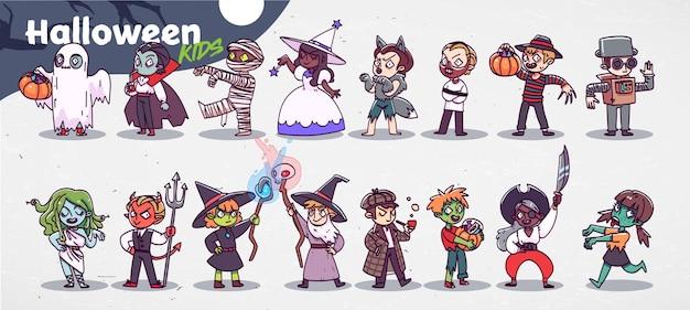 Vector set met schattige kinderen in feestelijke kostuums. grappige kleine jongens en meisjes die halloween vieren