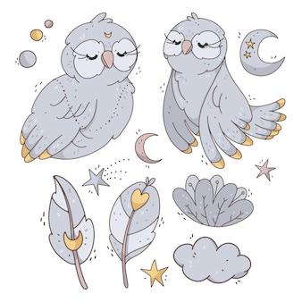 Vector set met schattige uilen, maan, sterren, bloemen en veren