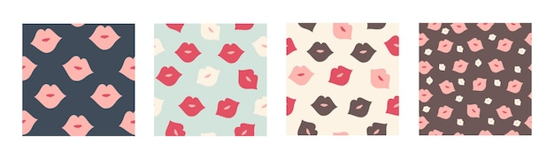 Vector set naadloos patroon met gekleurde lippen in de hand getekende stijl