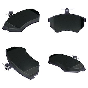 Vector set nieuwe auto remblokken voor vervanging 3d-weergave